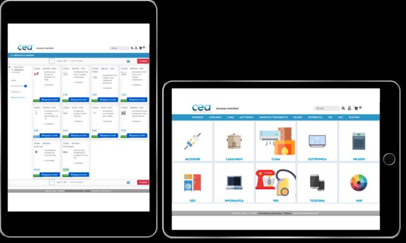 Interfaccia tablet progetto rivenditori CEA